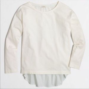 J. Crew White Mixed Media Pullover / Popover Top.